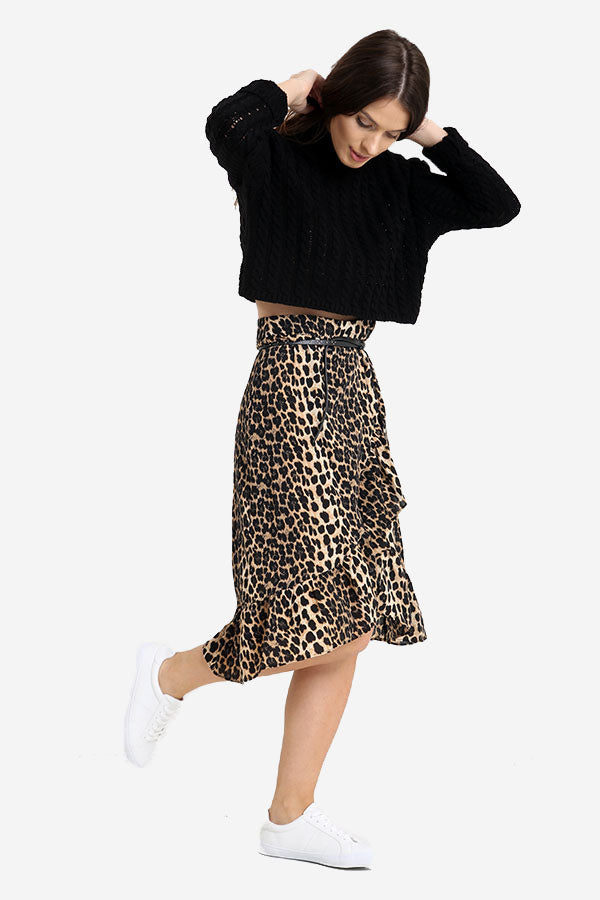Animal Leopard Print Wrap Frill Midi Skirt