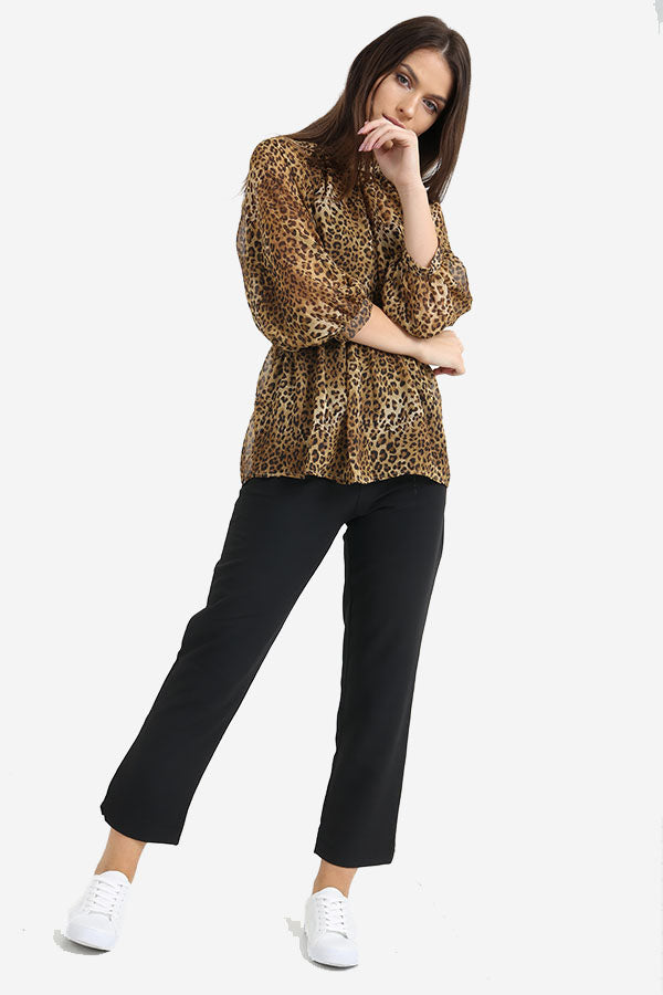 Animal Leopard Print Flute Sleeve Open Back Top