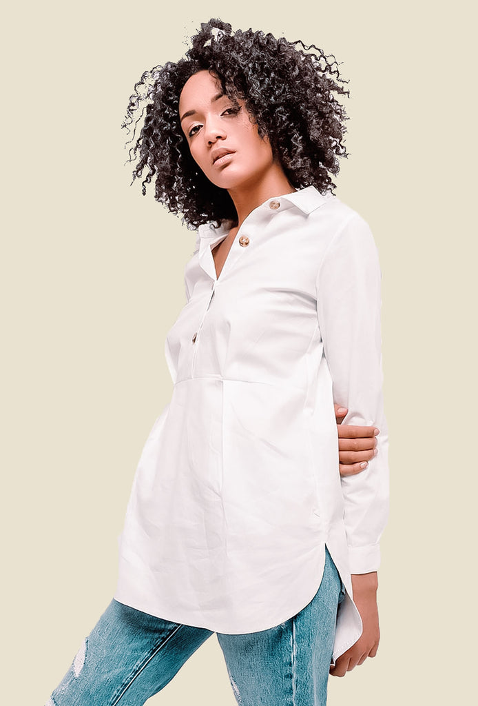 White Button Detailed Shirt
