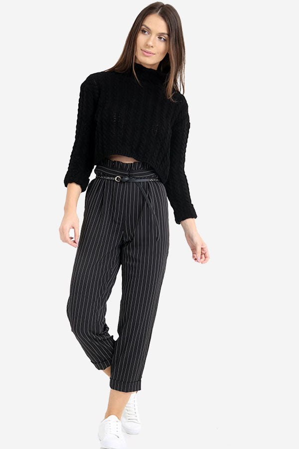 Black Pinstripe High Waisted Trousers