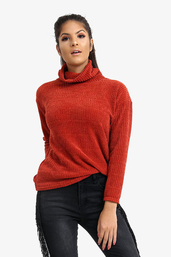 Burnt Orange Turtle Neck Ribbed Jumper