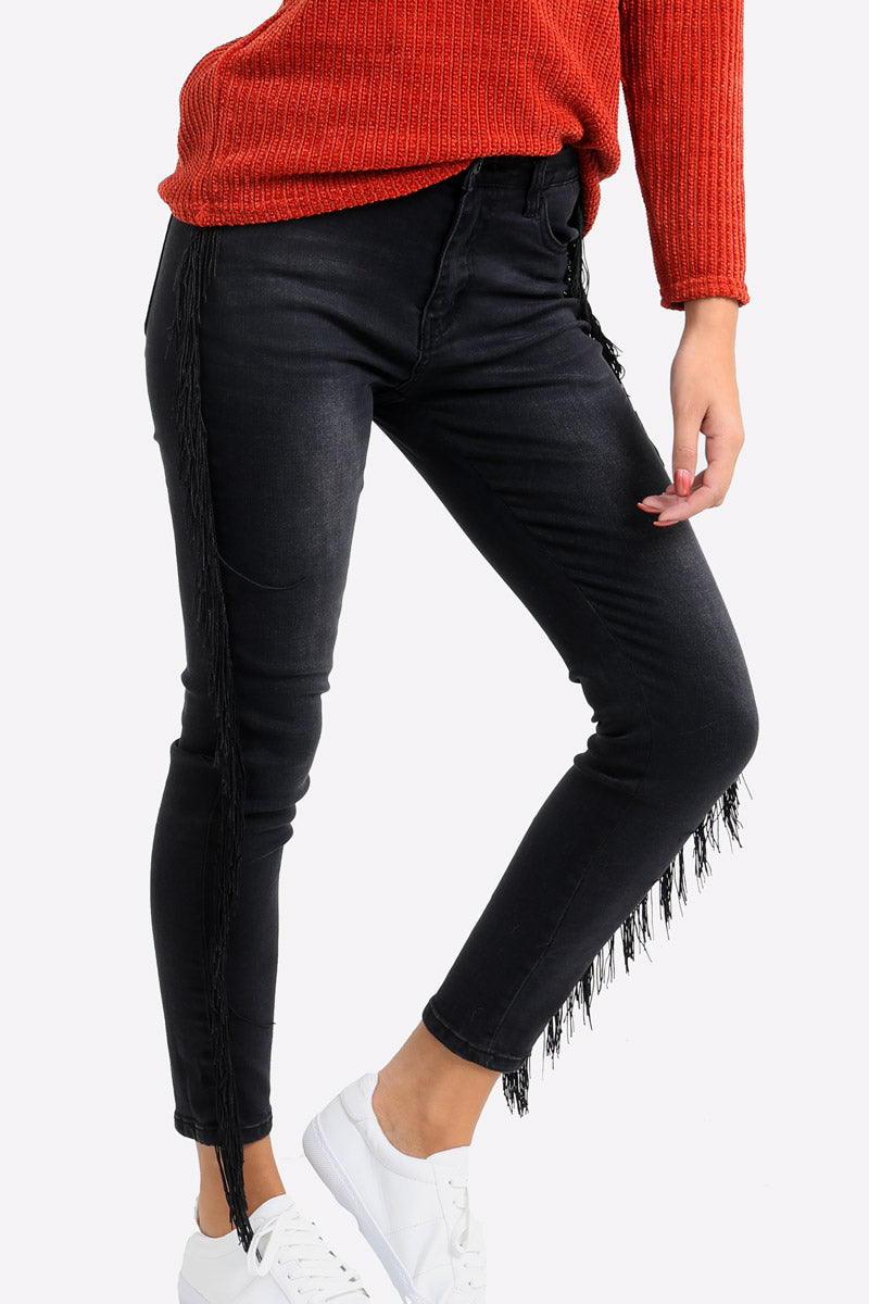 Black Skinny Jeans With Fringed Sides