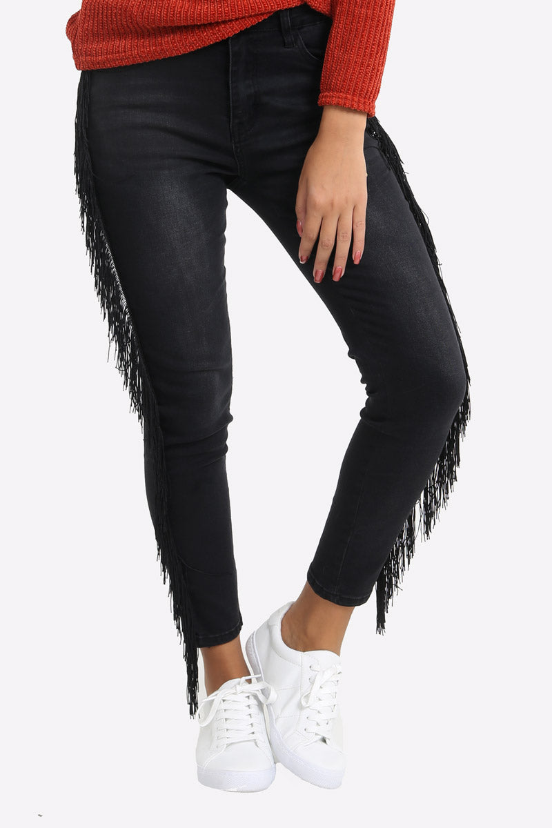 Skinny Jeans With Fringed Sides
