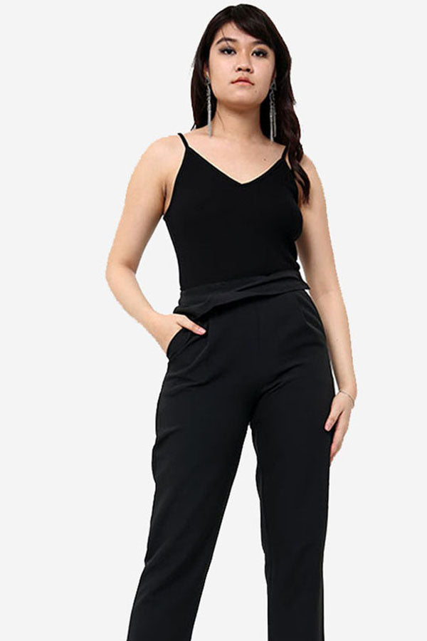 Black High Waisted Cigarette Trousers