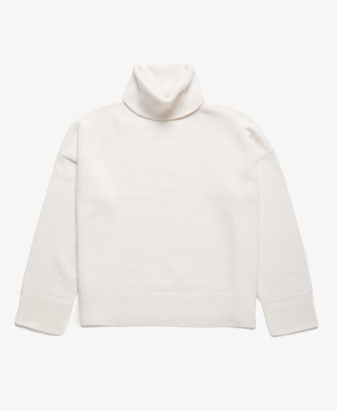 Dropped Shoulder Ribbed Turtleneck