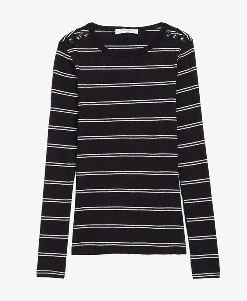 Edie Black Stripe Crew Knit Tee