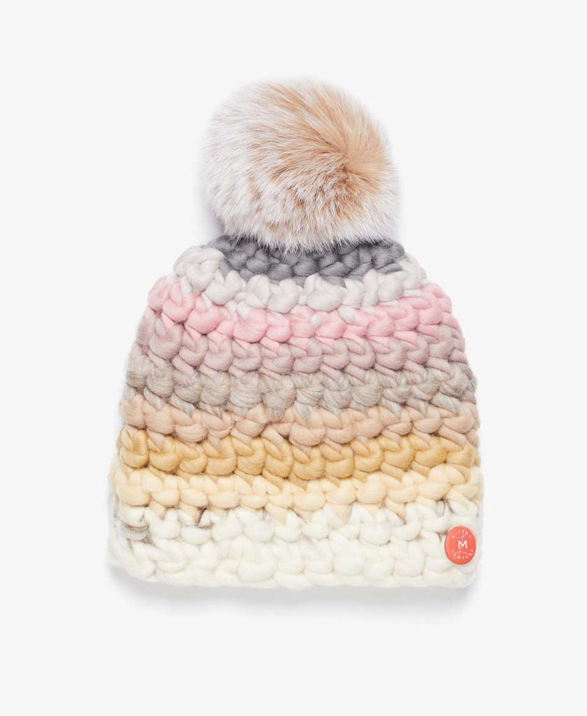 Blush Stripe Fur Pom Knit Hat