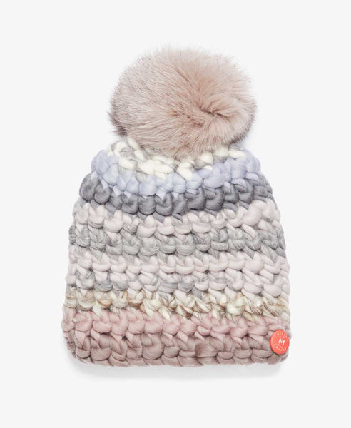 Taupe Stripe Fur Pom Knit Hat