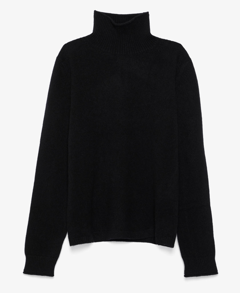 Brushed Cashmere Black Turtleneck