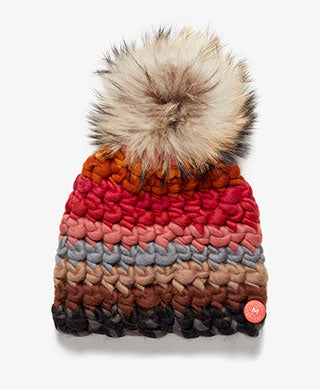 Raccoon Fur Pom Striped Knit Hat