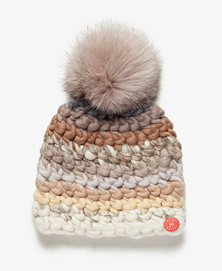 Taupe Fur Pom Striped Knit Hat