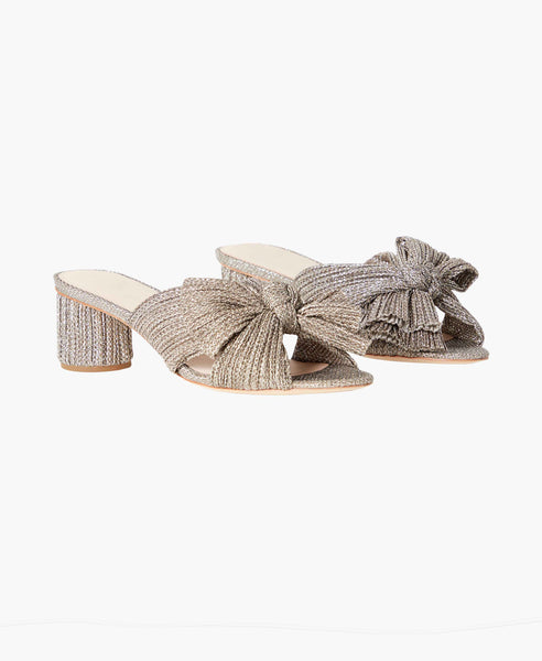Emilia Metallic Pleated Knot Sandals