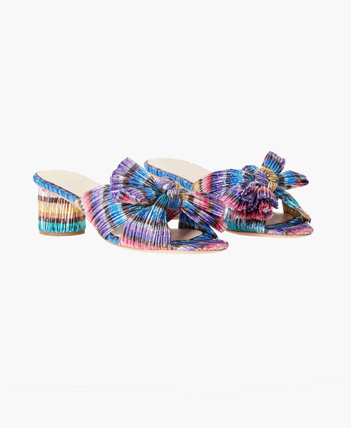 Emilia Rainbow Pleated Knot Sandals