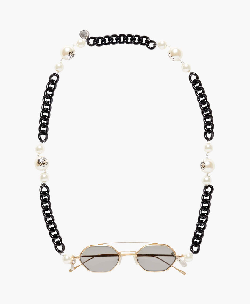 Floral Pearls Eyeglasses Black Chain