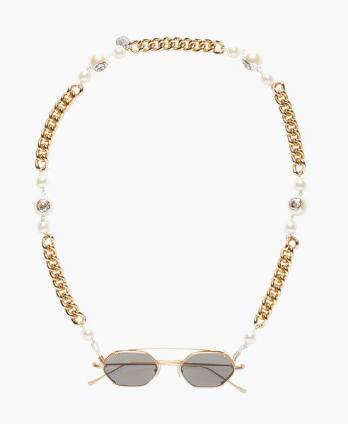 Floral Pearls Eyeglasses Gold Chain