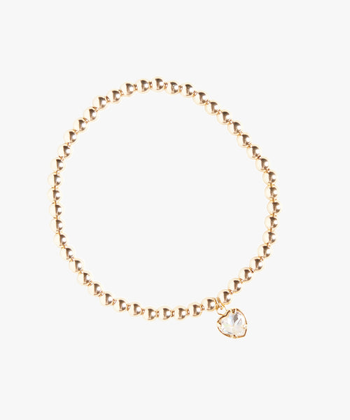 Gold Ball Bead Heart Stretchy Bracelet
