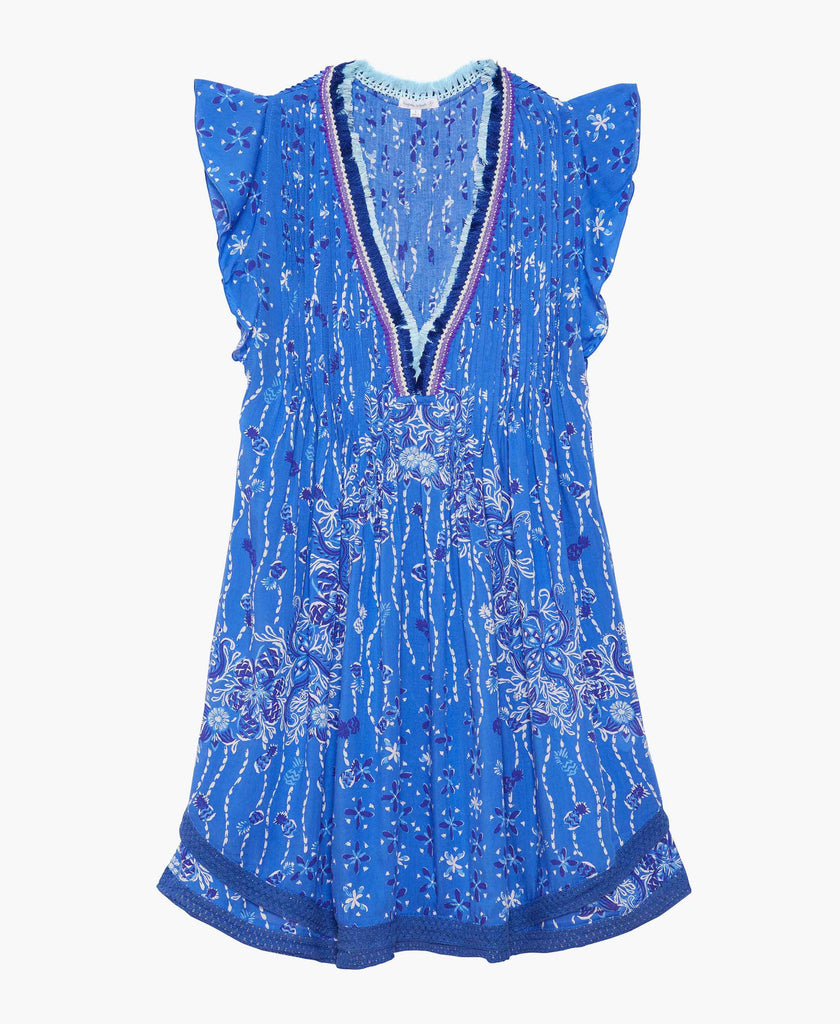 Sasha Blue Crochet Trim Dress