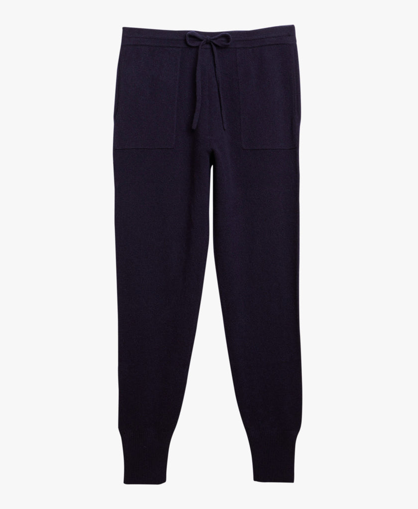Navy Cashmere Drawstring Jogger Sweatpants