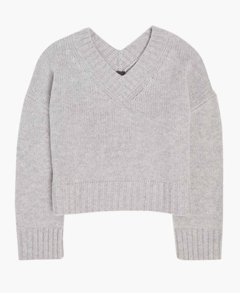 Grey V-Neck Knit Sweater