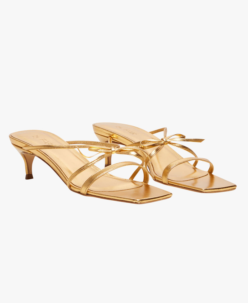 January Gold Leather Sandals