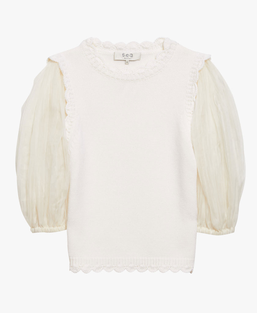 White Puff Sleeve Sweater
