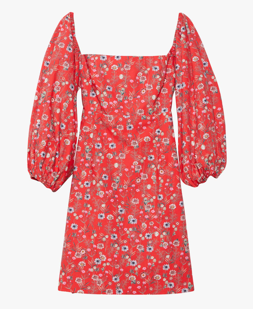 womens red floral mini dress
