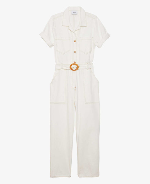 womens white denim jumpsuit