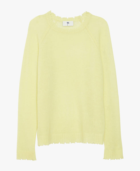 Distressed Cashmere Yellow Crew-Neck Sweater