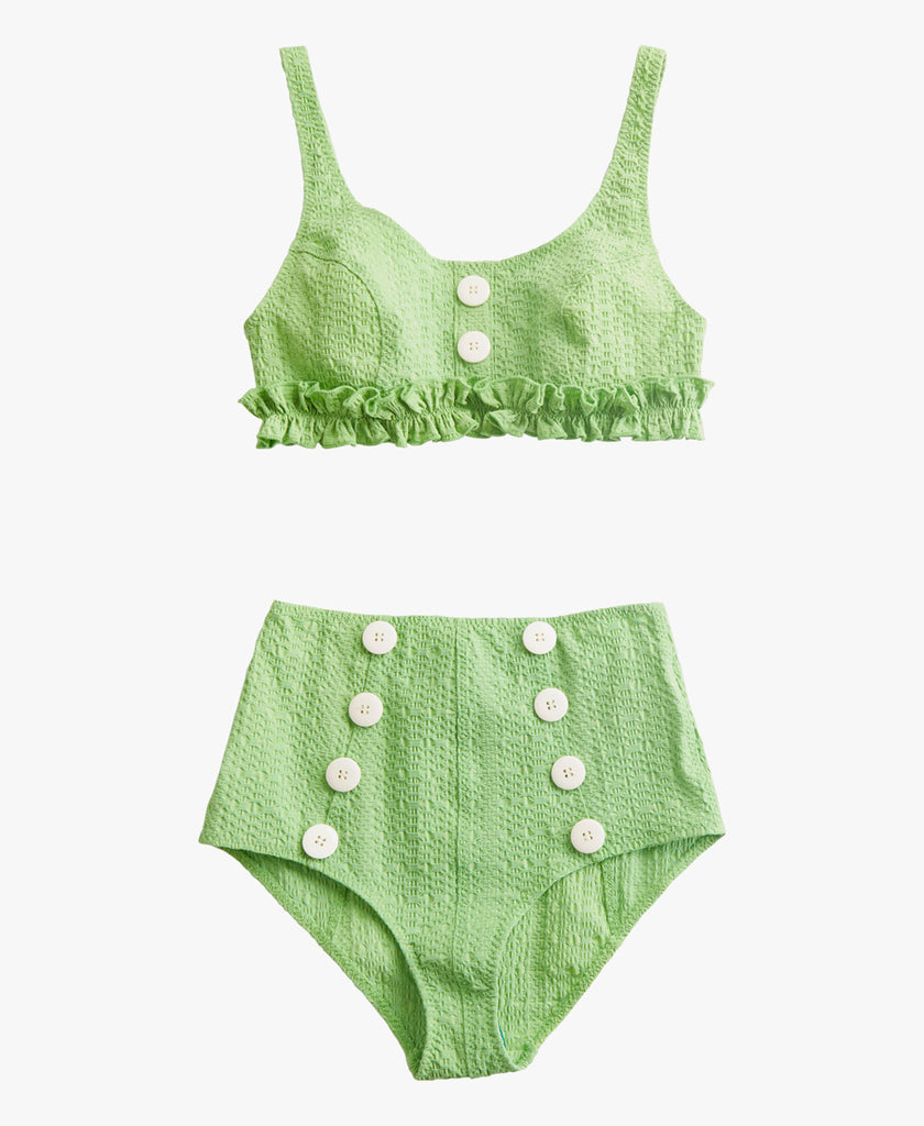 This scoop-neck bikini top has feminine ruffles and contrasting buttons. The high-waist button bottom is seamed for the perfect fit and shape