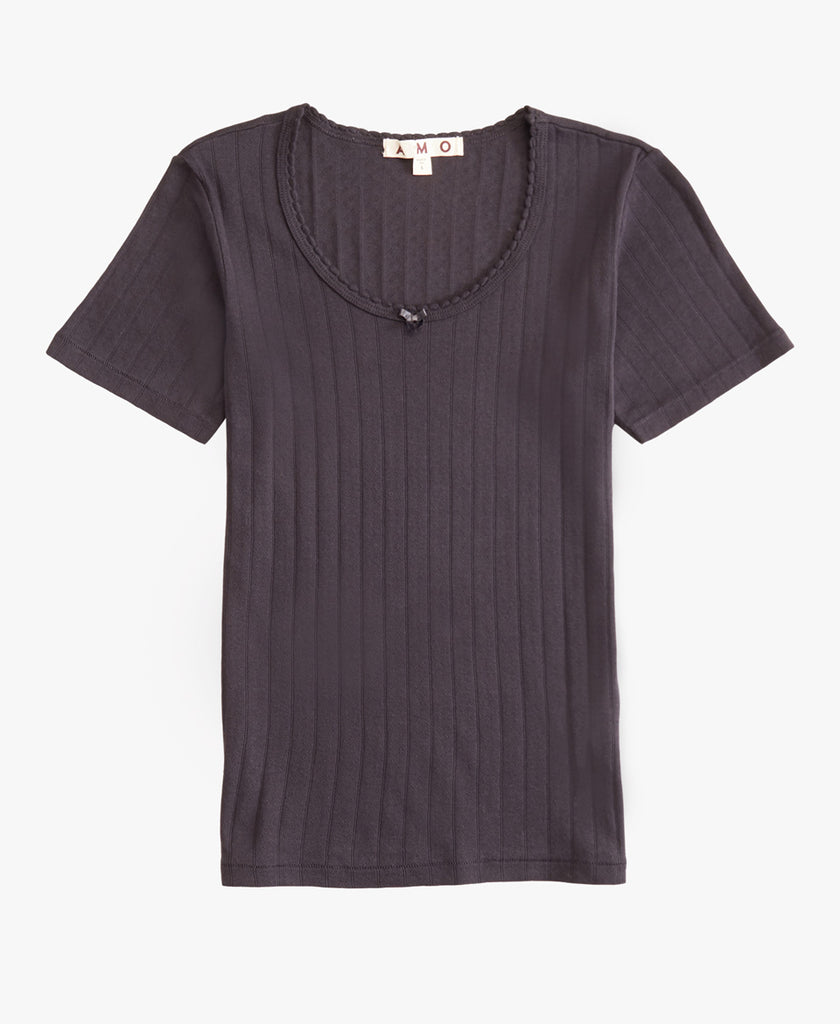 Sweetheart Scoop Neck Ribbed Tee