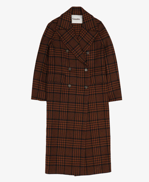 Nanushka Wool Lana Full Length Check Coat