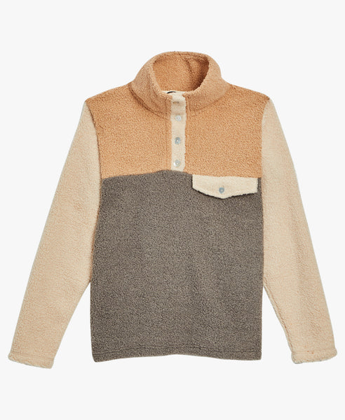Donni Tri Color Mini Sherpa Pullover