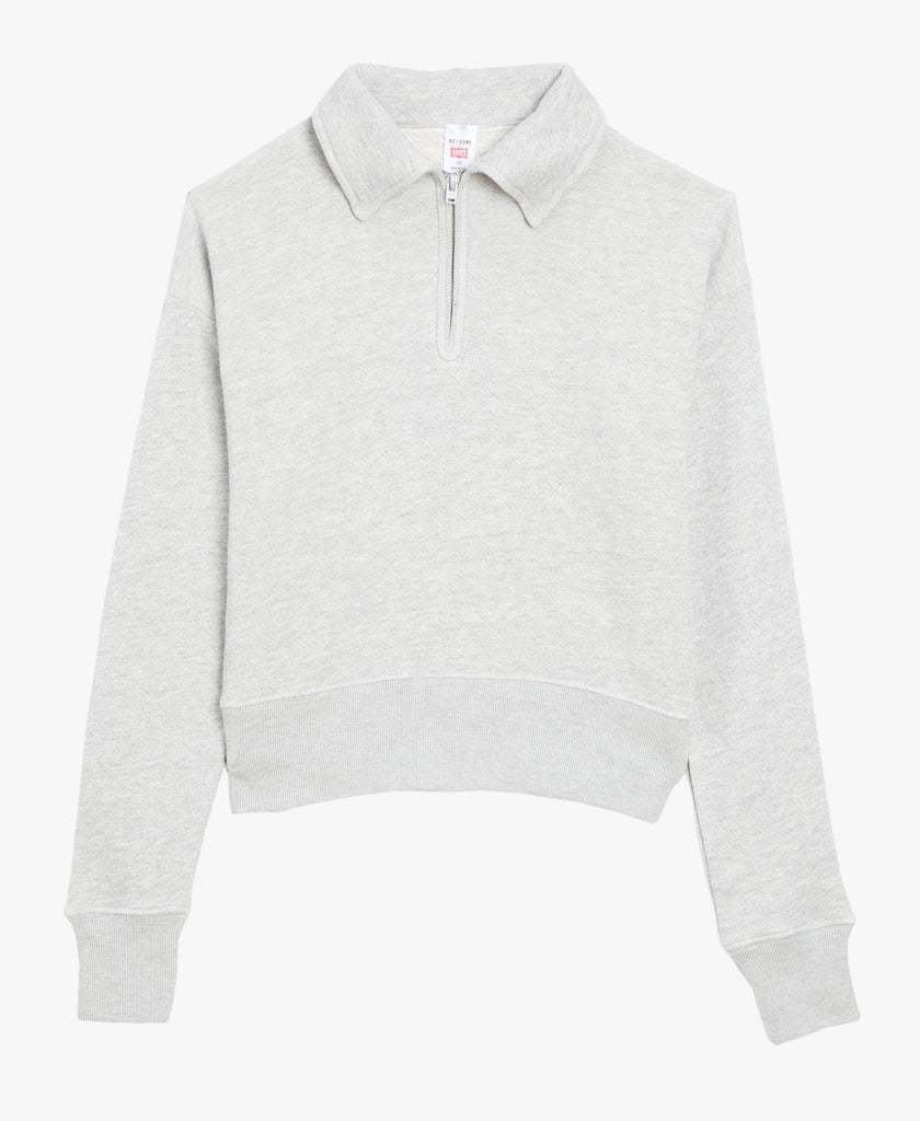 Re/Done Cotton Half Zip Sweatshirt