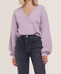 V Neck Balloon Sleeve Sweatshirt/Taro