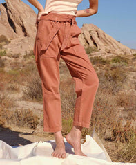 Relaxed Straight-Leg Paperbag Pants