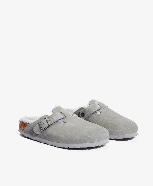Boston Shearling-Lined Grey Clogs