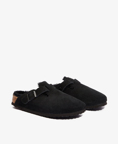 Boston Shearling-Lined Black Clogs