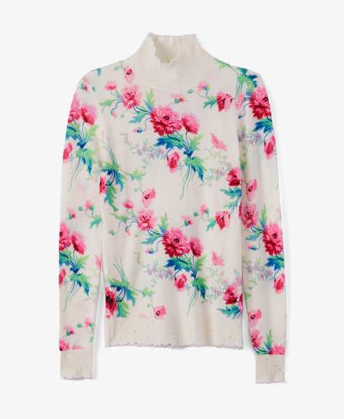 Floral Knit Turtleneck
