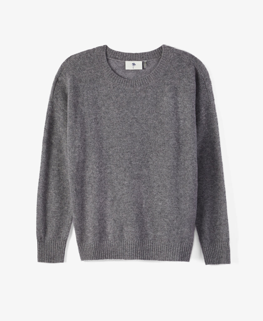 Grey Cashmere Crew Sweater