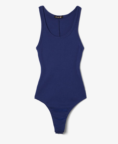 Ribbed Navy Bodysuit