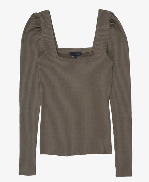 Alloy Rib Square Neck Top