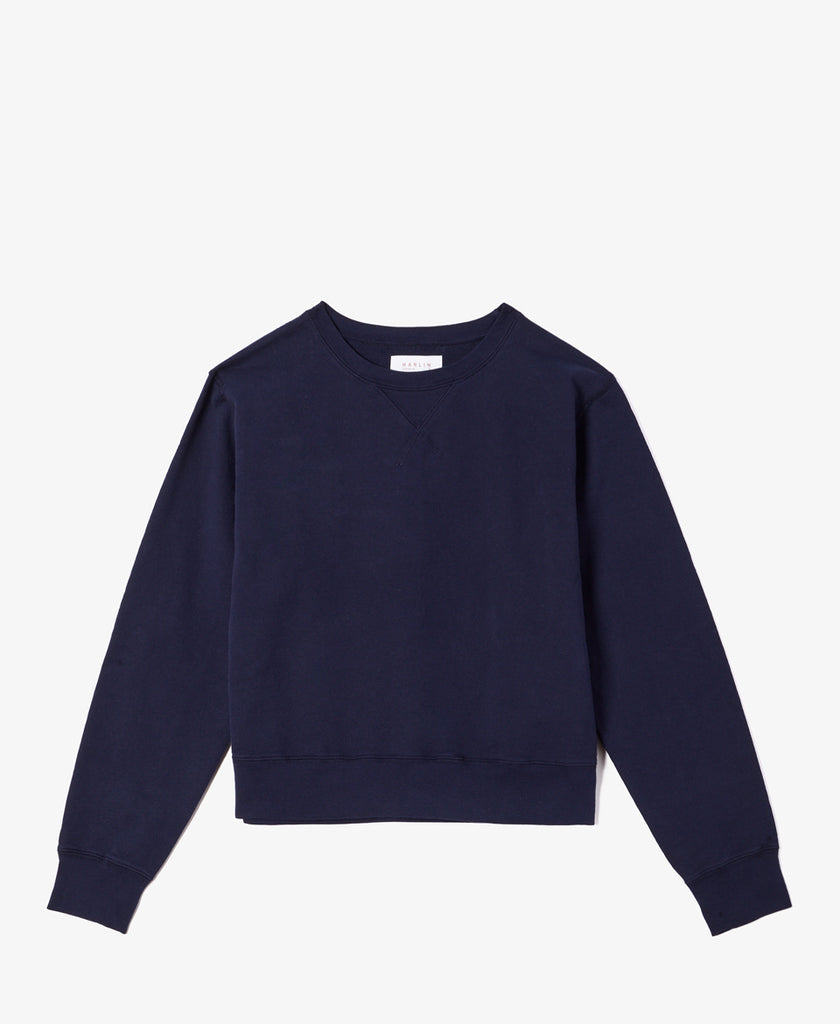 Ava Navy French Terry Sweatshirt