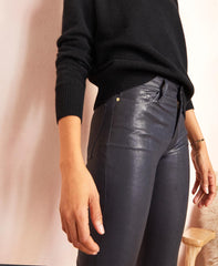 Le High Navy Leather Skinny Jeans