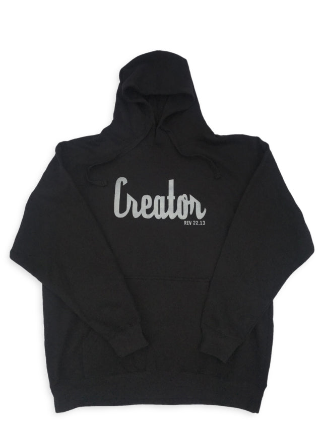 Black unisex hoodie with word