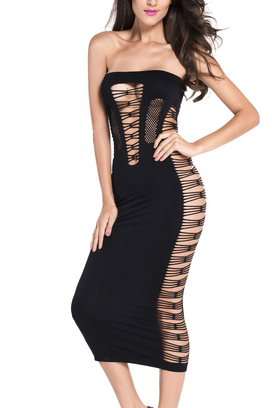 Big Spender- long black cut out tube maxi dress