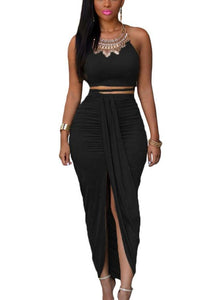 waves-Black Two Piece Maxi Skirt Set