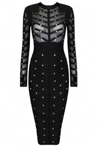 Lets Go-Black Studded Mesh Bandage Dress