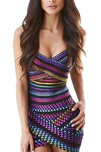 Rainbow Bight-Stripe Sleeveless V Neck Bodycon Bandage Mini Dress
