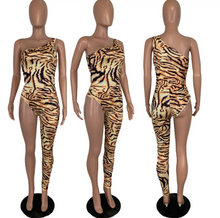 ToTo - tiger print 1 shoulder romper jumpsuit