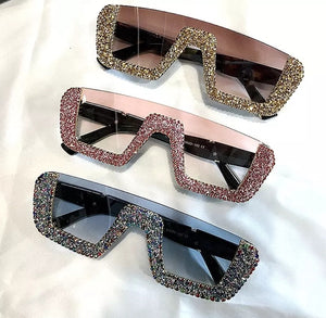 Top off - square women half bling out sunglasses